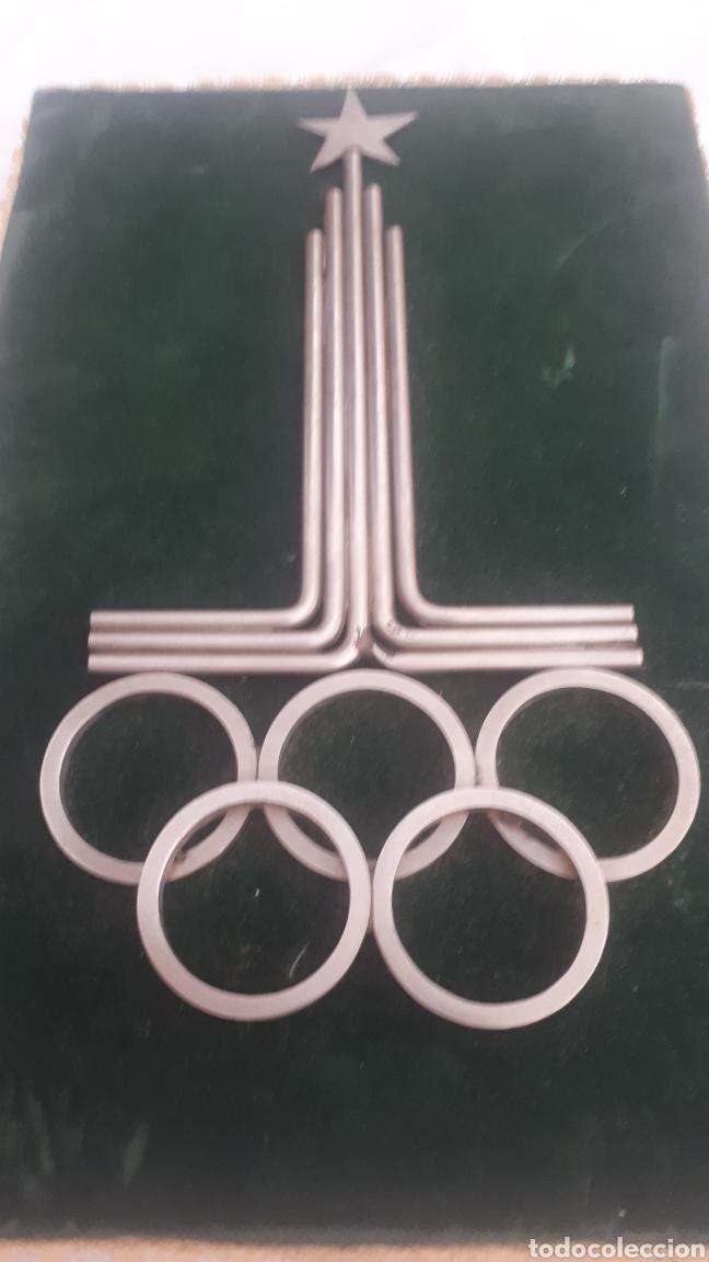 Coleccionismo deportivo: Curioso cuadro con el escudo de las Olimpiadas de Moscú MOSCOW 1980 en metal - Foto 2 - 216866742