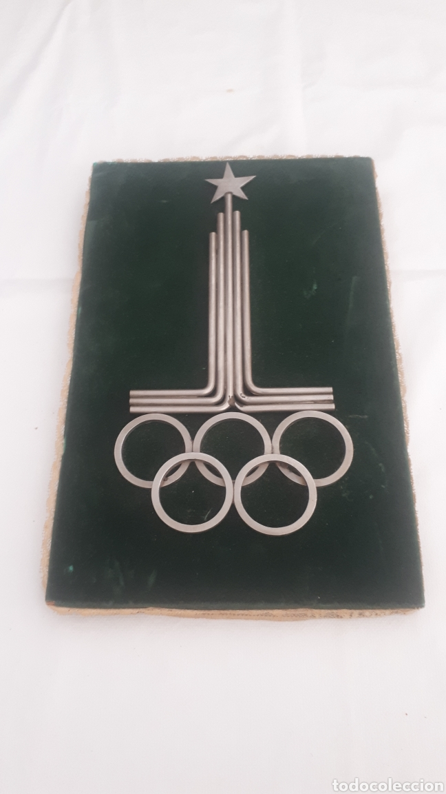 CURIOSO CUADRO CON EL ESCUDO DE LAS OLIMPIADAS DE MOSCÚ MOSCOW 1980 EN METAL (Coleccionismo Deportivo - Merchandising y Mascotas - Otros deportes)