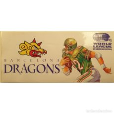 Collectionnisme sportif: PEGATINA PUBLICIDAD BARCELONA DRAGONS AÑO 1991 - 9X20 CM. AMERICAN FOOTBALL FÚTBOL AMERICANO RUGBY. Lote 243601935
