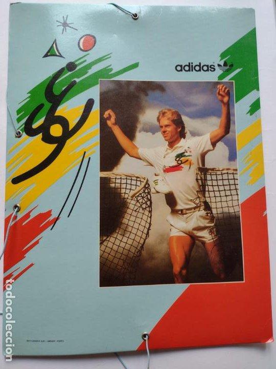 Coleccionismo deportivo: Carpeta A4 Adidas con el tenista Stefan Edberg, años 80. Formato A4-VINTAGE-PAPELERÍA-TENNIS - Foto 2 - 247772135
