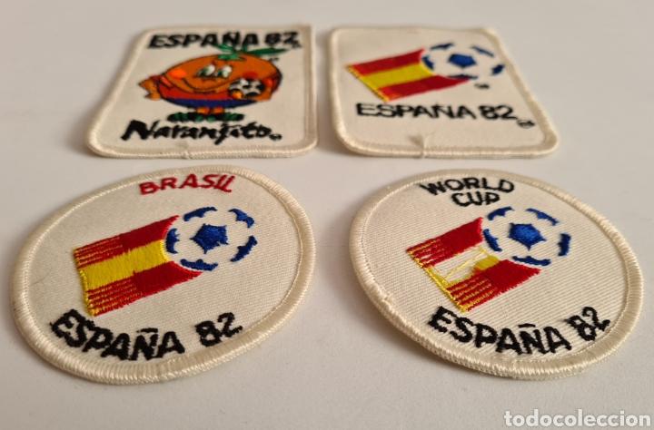 Coleccionismo deportivo: 4 Parches Naranjito Mascota Copa Mundial Fútbol España 82 - World Cup Spain Brasil - Foto 7 - 261627525