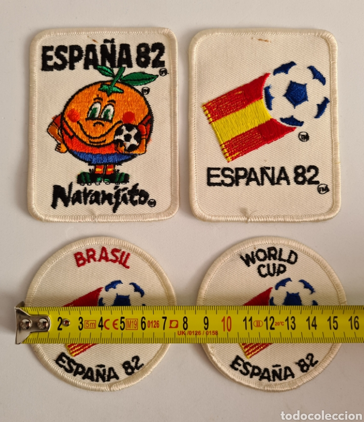 Coleccionismo deportivo: 4 Parches Naranjito Mascota Copa Mundial Fútbol España 82 - World Cup Spain Brasil - Foto 10 - 261627525