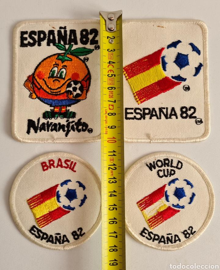 Coleccionismo deportivo: 4 Parches Naranjito Mascota Copa Mundial Fútbol España 82 - World Cup Spain Brasil - Foto 11 - 261627525