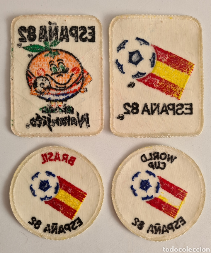 Coleccionismo deportivo: 4 Parches Naranjito Mascota Copa Mundial Fútbol España 82 - World Cup Spain Brasil - Foto 8 - 261627525
