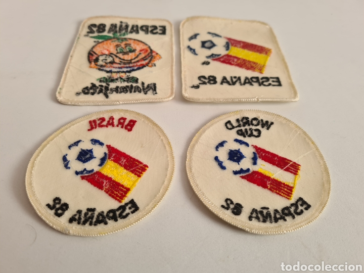Coleccionismo deportivo: 4 Parches Naranjito Mascota Copa Mundial Fútbol España 82 - World Cup Spain Brasil - Foto 9 - 261627525