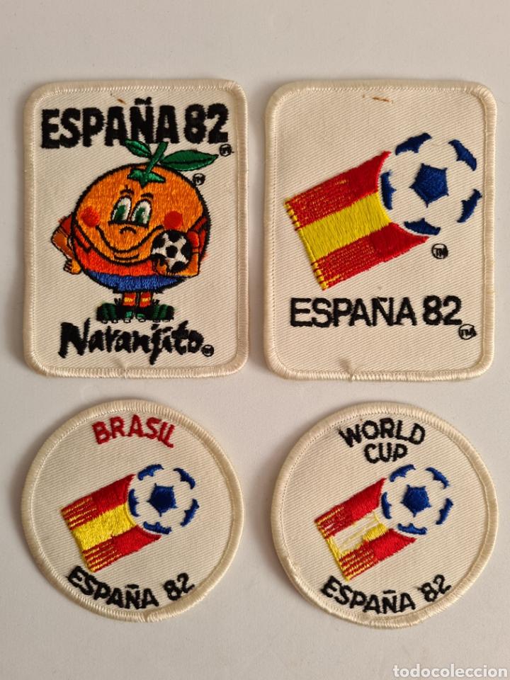 4 PARCHES NARANJITO MASCOTA COPA MUNDIAL FÚTBOL ESPAÑA 82 - WORLD CUP SPAIN BRASIL (Coleccionismo Deportivo - Merchandising y Mascotas - Otros deportes)