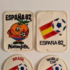 Coleccionismo deportivo: 4 PARCHES NARANJITO MASCOTA COPA MUNDIAL FÚTBOL ESPAÑA 82 - WORLD CUP SPAIN BRASIL. Lote 261627525