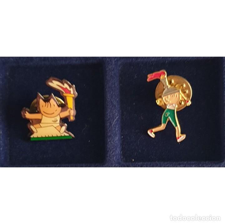 2 PIN DE COBI Y PETRA CON LA ANTORCHA OLIMPIADAS BARCELONA 92 (OLYMPIC GAMES) (Coleccionismo Deportivo - Merchandising y Mascotas - Otros deportes)