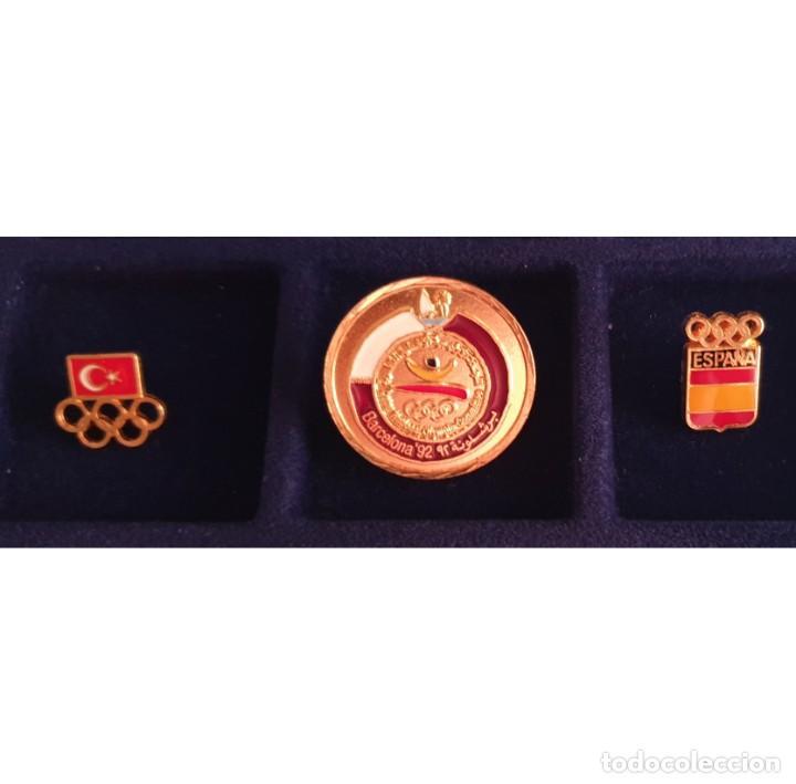 3 PIN DE LAS OLIMPIADAS BARCELONA 92 DELEGACIONES ESPAÑA - QATAR - TURQUIA OLYMPIC GAMES (Coleccionismo Deportivo - Merchandising y Mascotas - Otros deportes)