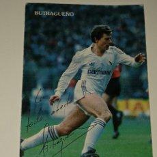 Coleccionismo deportivo: ANTIGUA FOTO TARJETA RETRATO DE BUTRAGUEÑO REAL MADRID FIRMADA POR EL AUTÉNTICA. Lote 293991513