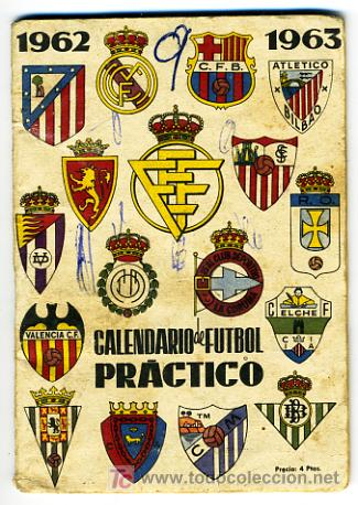 Calendario Futbol Primera Division.Calendario De Futbol Liga 1962 63 Dinamico Primera Division Cf76