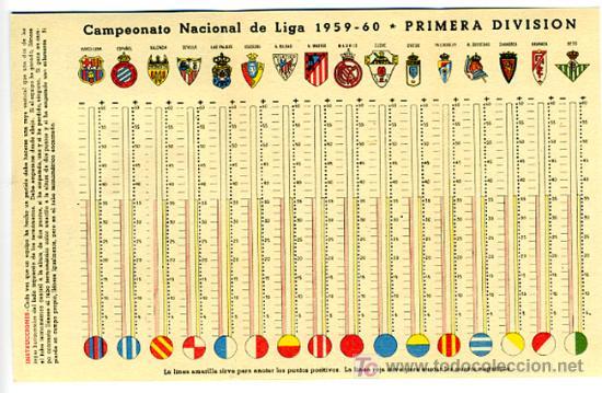 Calendario Futbol Primera Division.Calendario De Futbol Liga 1959 60 Primera Division Publicidad Ceregumil Cf19