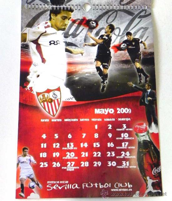Coleccionismo deportivo: CALENDARIO DE PARED DEL SEVILLA FC Y COCA COLA AÑO 2009 - EQUIPO JUGADORES FÚTBOL DEPORTE COCACOLA - Foto 2 - 25253964