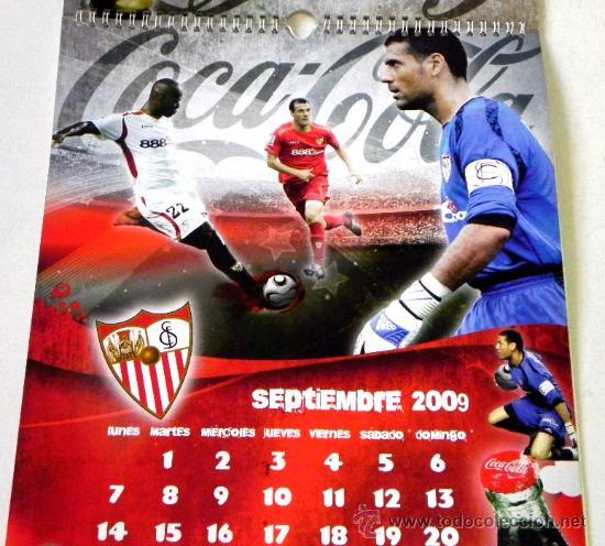 Coleccionismo deportivo: CALENDARIO DE PARED DEL SEVILLA FC Y COCA COLA AÑO 2009 - EQUIPO JUGADORES FÚTBOL DEPORTE COCACOLA - Foto 3 - 25253964