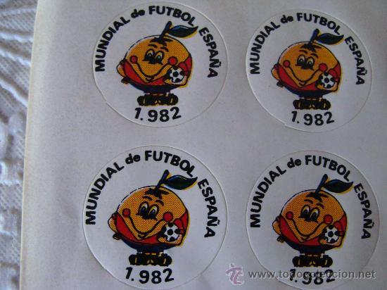 4 PEGATINAS DEL MUNDIAL DE FÚTBOL ESPAÑA 82. NARANJITO. 1982. ORIGINAL DE ÉPOCA. (Coleccionismo Deportivo - Merchandising y Mascotas - Futbol)