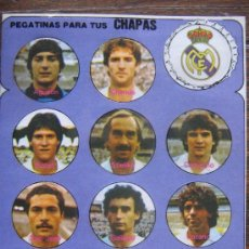 Coleccionismo deportivo: REAL MADRID PEGATINAS PARA TUS CHAPAS DE FUTBOL LIGA 1980 VER FOTO ES LA MISMA. Lote 26355655