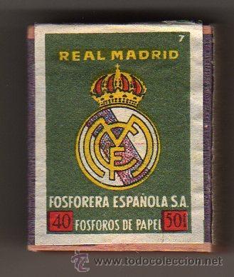INTERESANTE CAJA DE CERILLAS - FOSFORERA ESPAÑOLA SA - REAL MADRID (Coleccionismo Deportivo - Merchandising y Mascotas - Futbol)