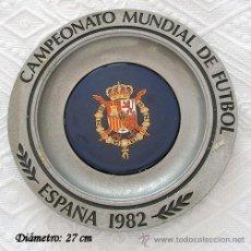 Coleccionismo deportivo: PLATO MUNDIAL FUTBOL 1982 METALICO Y PORCELANA. Lote 26803339