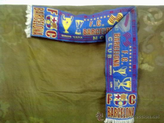BUFANDA FUTBOL CLUB BARCELONA MORE THAN A CLUB EUROPA,UEFA,LIGA Y RECOPA. (Coleccionismo Deportivo - Merchandising y Mascotas - Futbol)
