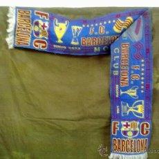 Coleccionismo deportivo: BUFANDA FUTBOL CLUB BARCELONA MORE THAN A CLUB EUROPA,UEFA,LIGA Y RECOPA.. Lote 28181615