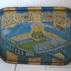 Coleccionismo deportivo: BANDEJA DE CHAPA CONMEMORANDO BARÇA 1899-1999, F.C.B. - SUPERFICIE DETERIORADA (39X28CM APROX). Lote 28350533
