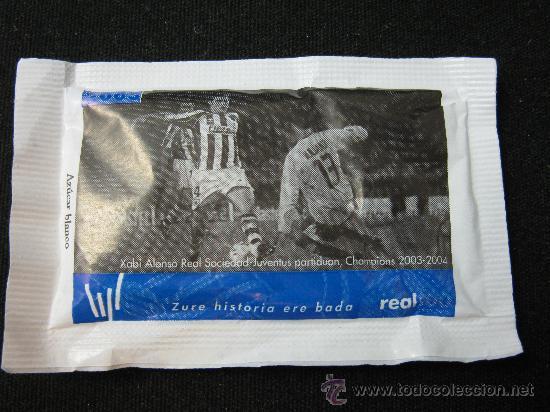 SOBRE DE AZUCAR CENTENARIO REAL SOCIEDAD 2003 XABI ALONSO REAL SOCIEDAD-JUVENTUS CHAMPIONS 2003-2004 (Coleccionismo Deportivo - Merchandising y Mascotas - Futbol)