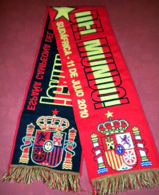 BUFANDA SCARF SCIARPE MATCH FINAL CUP WORLD FOOTBALL SOUTH AFRICA ESPAÑA SPAIN (Coleccionismo Deportivo - Merchandising y Mascotas - Futbol)