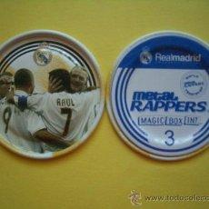 Coleccionismo deportivo: METAL RAPPERS FUTBOL REAL MADRID - MAGIC BOX - NÚMERO 3 - CELEBRANDO UN GOL. Lote 38426714