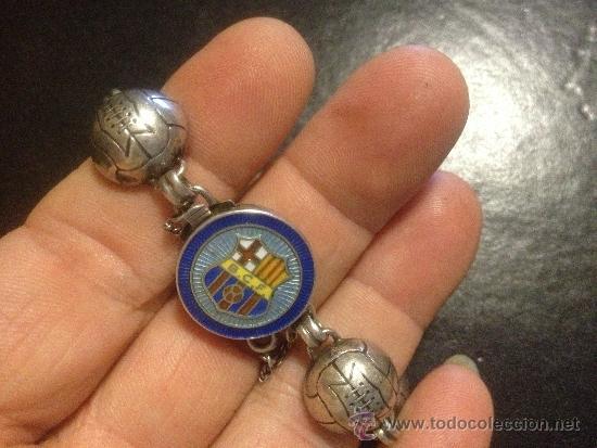 Coleccionismo deportivo: antigua pulsera en plata de ley y esmalte futbol club fc barcelona f.c barça cf años 40 BCF - Foto 4 - 39287568
