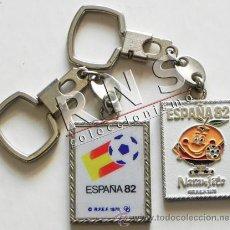 Collezionismo sportivo: LOTE ANTIGUOS LLAVEROS DIFERENTES DEL MUNDIAL ESPAÑA 82 NARANJITO Y LOGO FÚTBOL DEPORTE LLAVERO 1982. Lote 39565007