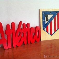 Coleccionismo deportivo: ATLETICO DE MADRID ESCUDO Y LETRAS DE MADERA. Lote 39832442