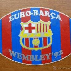 Coleccionismo deportivo: PEGATINA BARCELONA FC CAMPEONES WEMBLEY´92. Lote 40427683