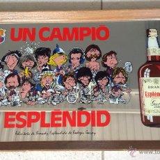 Colecionismo desportivo: PUBLICIDAD ESPEJO BRANDY ESPLENDIDO GARVEY CARICATURAS JUGADORES F.C. BARCELONA AÑO 84/85. Lote 40596560