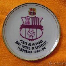 Coleccionismo deportivo: MINI PLATO DE LA PENYA BALUGRANA DE SANT VICENÇ DE CASTELLET - BARÇA - TEMPORADA 1987 - 88 PORCELANA. Lote 41129292
