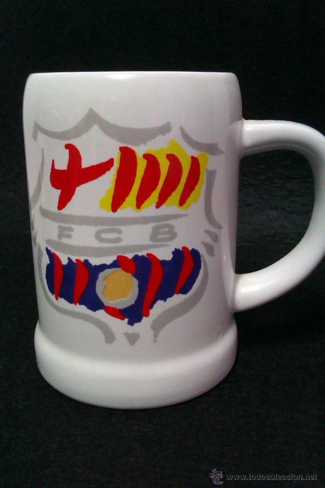 JARRA DE PORCELANA FUTBOL CLUB BARCELONA ESCUDOS PINTADOS A MANO (Coleccionismo Deportivo - Merchandising y Mascotas - Futbol)