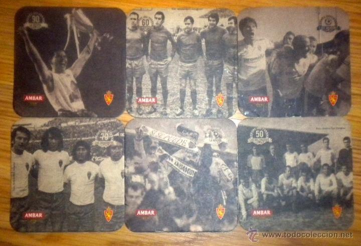 6 POSAVASOS CARTON CERVEZA AMBAR REAL ZARAGOZA BEER CERVEZAS LA ZARAGOZANA BIRRA (Coleccionismo Deportivo - Merchandising y Mascotas - Futbol)