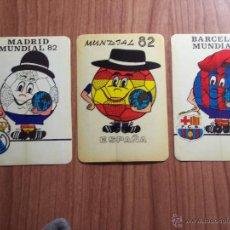 Coleccionismo deportivo: LOTE DE 3 ADHESIVOS MUNDIAL'82 (R. MADRID - BARCELONA Y ESPAÑA) - NARANJITO. Lote 46871385