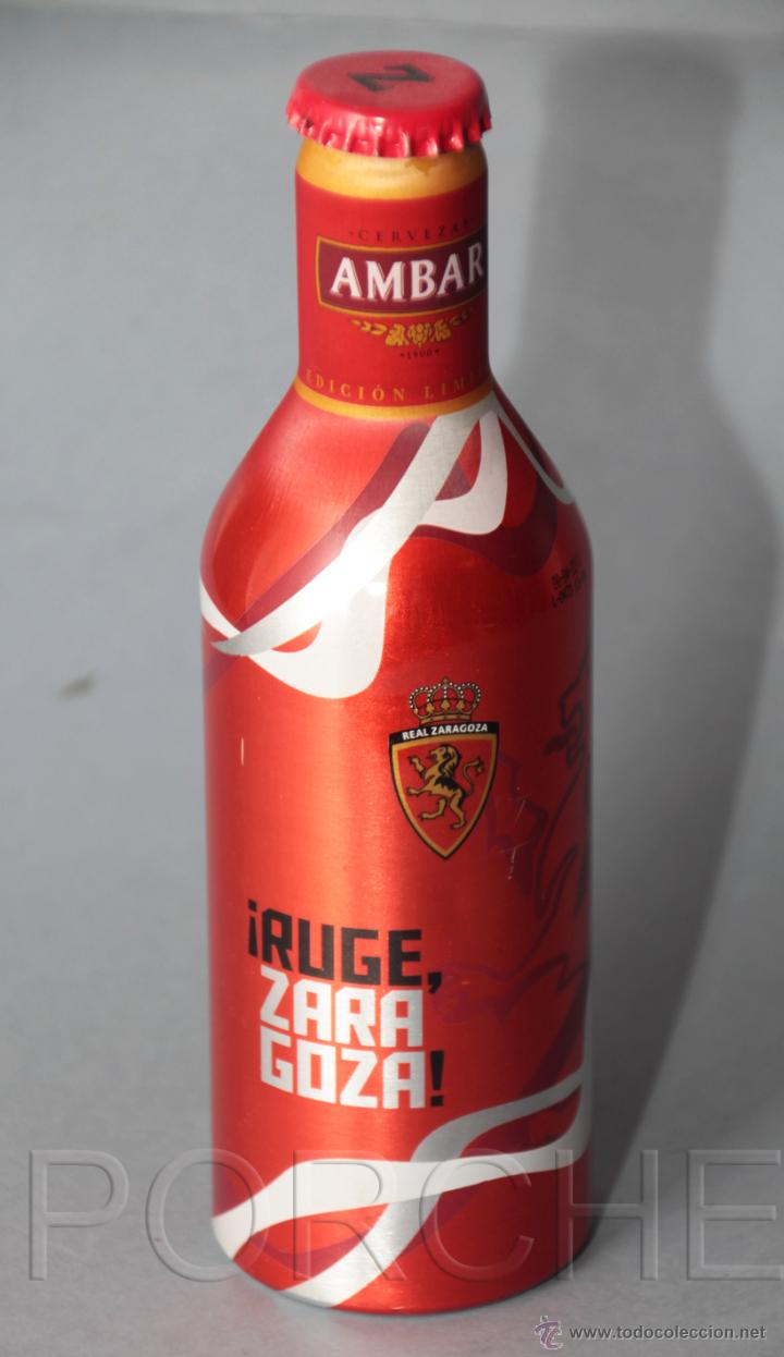 1 BOTELLÍN DEL REAL ZARAGOZA, DE CERVEZA AMBAR, EN ALUMINIO 33CL -RUGE ZARAGOZA- (Coleccionismo Deportivo - Merchandising y Mascotas - Futbol)