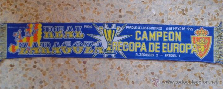 BUFANDA SCARF REAL ZARAGOZA CAMPEON RECOPA PARIS 1995 HINCHAS ULTRAS SUPPORTERS ED-34 (Coleccionismo Deportivo - Merchandising y Mascotas - Futbol)