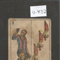 Coleccionismo deportivo: CROMO CARTA-BARAJA FUTBOL-3 BASTOS- SANCHO BARCELONA -REVERSO SURROCA BARCELONA - CH. PI - (V-4127). Lote 53958985