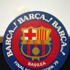 Coleccionismo deportivo: PEGATINA DEL FUTBOL CLUB FC BARCELONA F.C BARÇA CF FINAL RECOPA BASILEA 1979 . Lote 56049935
