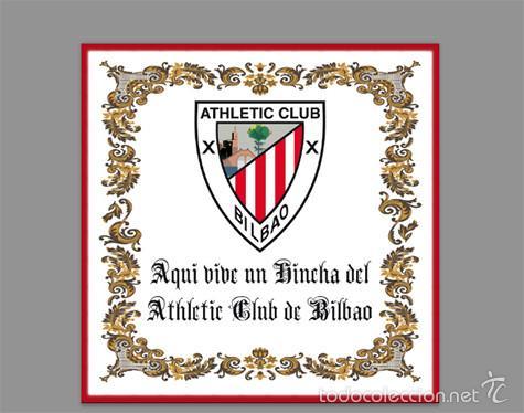 AZULEJO 15X15 AQUI VIVE UN HINCHA DEL ATHLETIC CLUB DE BILBAO (Coleccionismo Deportivo - Merchandising y Mascotas - Futbol)