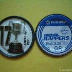 Coleccionismo deportivo: METAL RAPPERS FUTBOL REAL MADRID - MAGIC BOX - NÚMERO 98 - TROFEOS: COPAS DEL REY. Lote 57027950