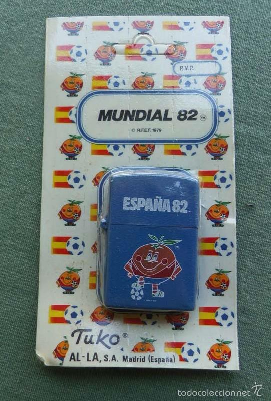 ENCENDEDOR - MECHERO MUNDIAL DE FUTBOL 82 - NARANJITO - DE TUKO AL - LA SA DE MADRID - AZUL (Coleccionismo Deportivo - Merchandising y Mascotas - Futbol)