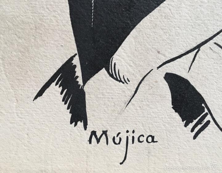 Coleccionismo deportivo: Retrato futbolista Mujica atletico de Madrid original Obra Alfredo enguix ,excelente trazo años 50 - Foto 3 - 57809242