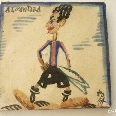 Coleccionismo deportivo: ALCANTARA. (FC BARCELONA). AZULEJO ORIGINAL. PINTADO A MANO. ANTONI ROCA MARISTANY. AÑOS 1920S. Lote 58468767