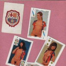 Coleccionismo deportivo: JUEGO DE CARTAS NAIPES FUTBOL.C. BARCELONA - BARÇA - EROTICAS GRAFICAS GIRONES 1977. Lote 59839244