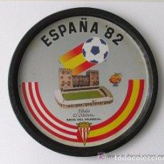 Coleccionismo deportivo: BANDEJA METALICA CONMEMORATIVA DEL MUNDIAL 82. ESTADIO DEL MOLINON. GIJÓN. ASTURIAS. 1982. Lote 61616400