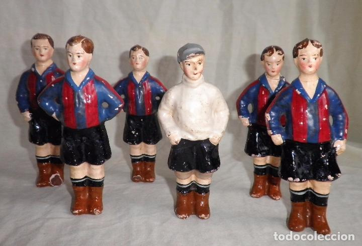 EQUIPO DE MUÑECOS F.C.BARCELONA AÑO 1930 - MUY RAROS EN MERCADO. (Coleccionismo Deportivo - Merchandising y Mascotas - Futbol)