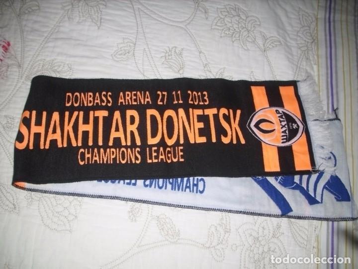 Coleccionismo deportivo: -BUFANDA REAL SOCIEDAD Vs SHAKHTAR DONETSK CHAMPIONS LEAGUE 2013 - Foto 3 - 86064375